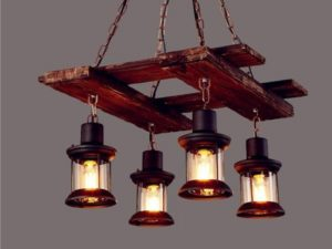 Industrial Wood Chandelier, Suspended Light Fixture, Country, Farmhouse